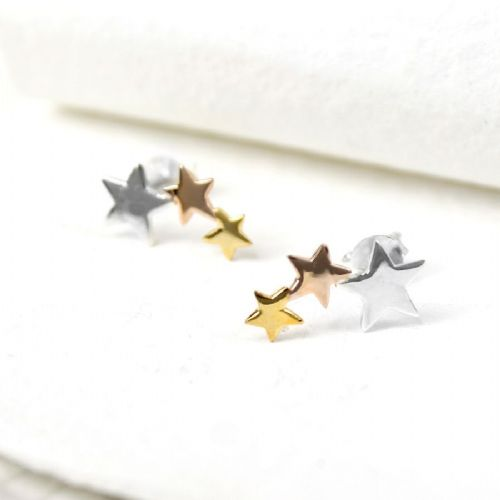Silver, gold & rose gold star cluster earrings